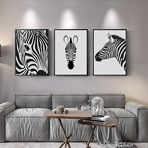 Estilo nórdico, negro, blanco, animal, cartel, cebra, lienzo, pintura, moderno, minimalista, arte de la pared, impresión, imagen, para, sala, hogar, decoración, no, marco