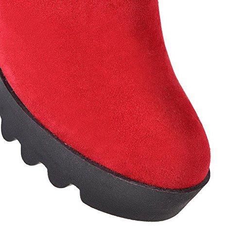 VogueZone009 Donna Tacco Alto Puro Punta Tonda Cerniera Stivali con Talismano Rosso