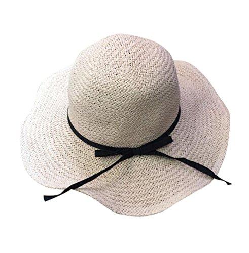 Yuncai Femmes Dames Large Bord Chapeau de Paille Pliable Souple Plage Chapeaux Rose