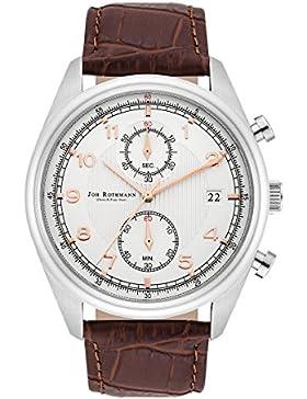 Joh. Rothmann Sigurd Herrenuhr Chronograph weiß / silber Edelstahl Armband Echtleder braun 5 ATM 10030129