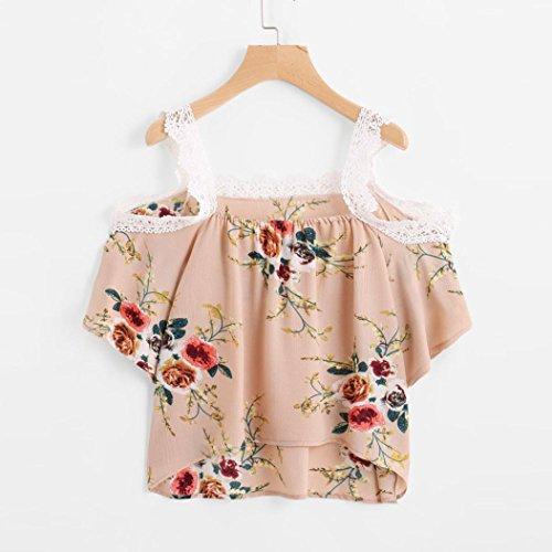 Bonjouree Hauts Dentelle Fleur Femme T-Shirt Manche Courte Ete Épaule Nue Kaki