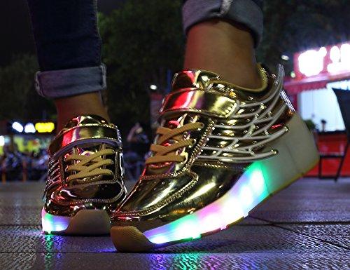 Ouro De Neutro Com Sapatilhas Asa Kuli Rolo Rodas Rolo E Patinar Mr Led Skate Sapatos Piscando Luzes De ang Meninas Ajustável Meninos art Cor As 7 Mudança Calçam I4wqczF