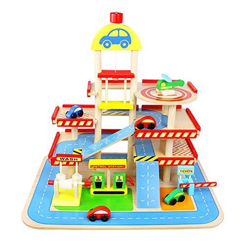 yoptote Vehiculos Juguete Parking Rampa Coche Garaje Juguete Circuito Coches Juquetes de Madera con 4 Coches Helicoptero Juguete Pistas Regalos Cumpleaños Niños 3+