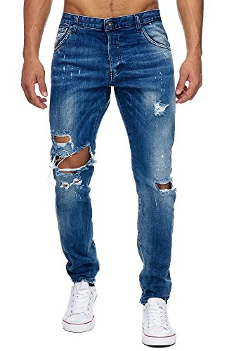 MEGASTYL Herren Hose Ripped Jeans Königsblau Slim-Fit Stretch-Denim