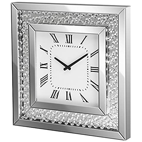 Mirrored Wall Clock Square Bevelled Mirror Glass With Crystal Jewels