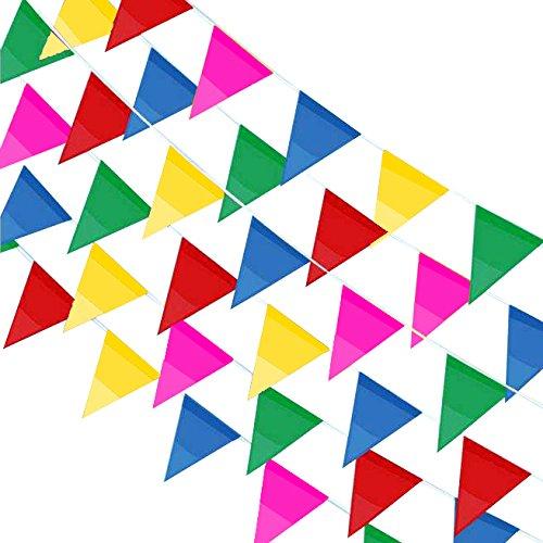(JUSLIN 300 Stück Mehrfarbige Wimpel Banner,114M Nylon Stoff Dekorationen Flaggen Für Festival Parteien und Hinterhof Picnics)