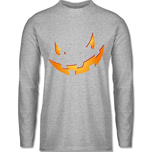 Halloween - Kürbisgesicht klein Pumpkin - Longsleeve / langärmeliges T-Shirt für Herren Grau Meliert