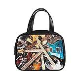 Bolsos de mano Jazz Rock Cool Guitarra eléctrica para niño Bolsos Bolso con cremallera Pu Puño superior de cuero Satchel Zipper Tote Bag