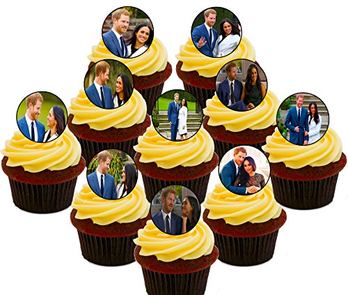Royal Wedding Prince Harry y Meghan – Decoración comestible para cupcakes – oblea precortada para decoración de tartas (paquete de 30)