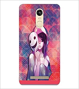 PrintDhaba Mask Girl D-3703 Back Case Cover for XIAOMI REDMI NOTE 3 PRO (Multi-Coloured)