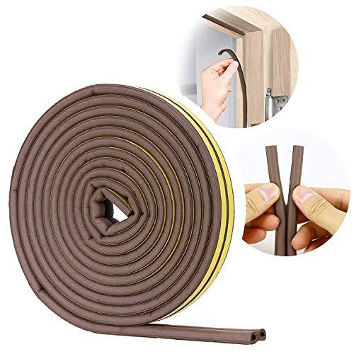 VOLO Soundproofing, Dust Proof Door/Window Self Adhesive Door Seal Strip 6 Meters(D Shape)_Brown