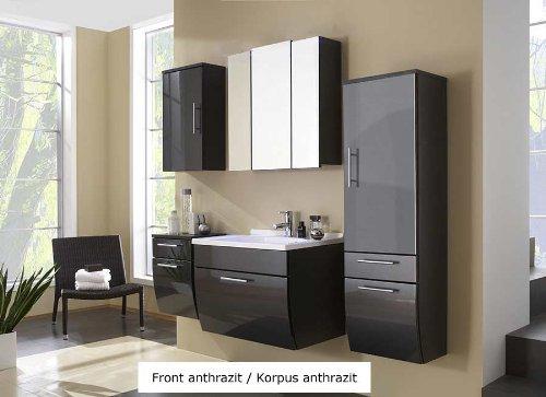 XXS® Möbel Set 5B Salona komplett Badezimmer anthrazit Front MDF hochglanz 70 cm Waschplatz Mineralgussbecken