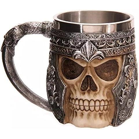 XJoel Caffè in acciaio inox 3D cranio tazza creativa acciaio inossidabile bere Horror Skull Tazza Osario rivestimento in resina tazza cranio decorazione 3D