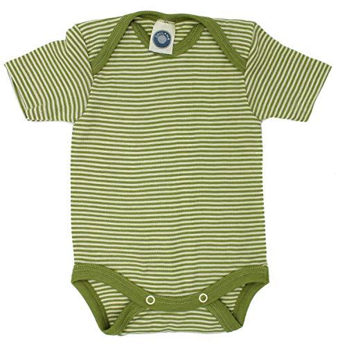 Cosilana, Kurzarm Baby Body 70% Merino-Schurwolle und 30% Seide (98/104, Grün-geringelt)