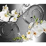 decomonkey Fototapete selbstklebend Abstrakt Blumen 294x210 cm XL Selbstklebende Tapeten Wand Fototapeten Tapete Wandtapete klebend Klebefolie Orchidee Muster weiß silber grau