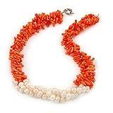Declaración 3Strand trenzado naranja coral y collar de perlas de color crema con anillo de tono plata–44cm L