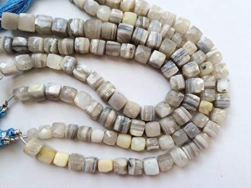 Gemstone Beads Opal - Boulder Opal Cube Beads, Boulder Opal Faceted Box Beads, Boulder Opal Necklace, 7-8mm, 13 Pcs, 4 Inch Strand 13 Boulder