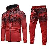 MOIKA Hommes 2 Pièces Survêtement Ensemble de Sport Camouflage Imprimé Sweat-Shirt à Capuche Pantalon Fitness Jogging Gym(Rouge,XX -Large)