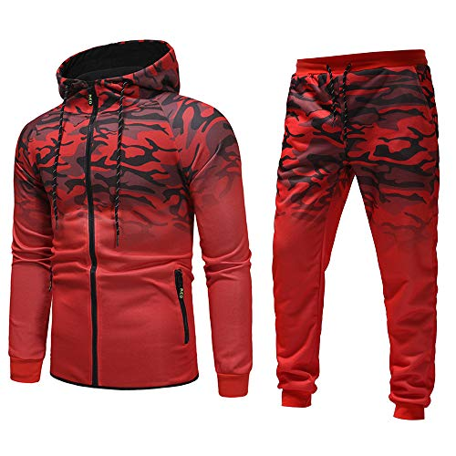 Winter Camouflage Sport Sweatshirt Top Pants Sets Sportanzug Trainingsanzug Männer Kapuzenpullover Fitness Training Warm Atmungsaktiv Bequem Weich Top Outwear Bluse M-3XL ()