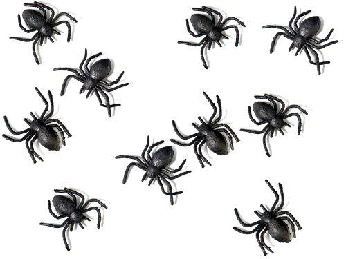 Plastik Spinnen schwarz, 3x3 cm, 10 Stück - Halloween Dekoration (Halloween Spinne Dekorationen)