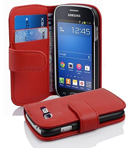 Cadorabo - Etui Housse pour Samsung Galaxy TREND LITE (S7390) - Coque Case Cover Bumper Portefeuille (avec fentes pour cartes) en ROUGE CERISE