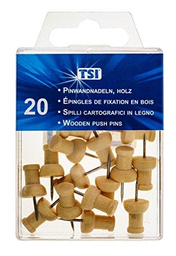 (TSI Pinnwandnadeln, 20-er Packung aus echtem Holz)