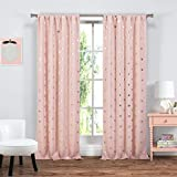 Lala + Bash Kelly Blackout Window Curtain, 37 x 84 Inches, Cotton Candy