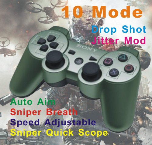 Jungle Green Sony PS3 Rapid Fire Modded Controller 10 mode For MW2