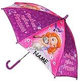 Unbekannt Regenschirm / Stockschirm -  Disney - Sofia die Erste - Auf einmal Prinzessin  - incl. Name - Kinderschirm - Ø 78 cm - Kinder Schirm Kinderregenschirm / Glo..