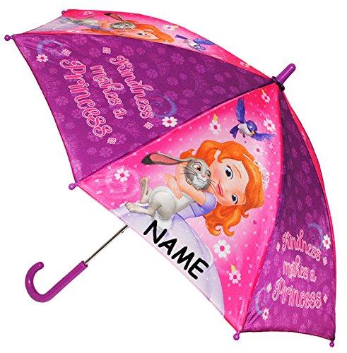 alles-meine.de GmbH Regenschirm / Stockschirm -  Disney - Sofia die Erste - Auf einmal Prinzessin  - incl. Name - Kinderschirm - Ø 78 cm - Kinder Schirm Kinderregenschirm / Glo..
