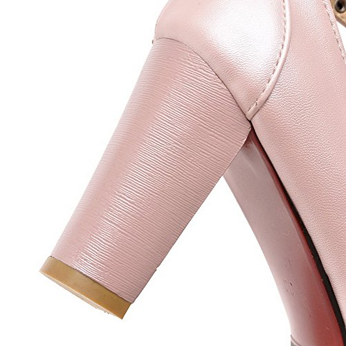 VogueZone009 Damen Pu Leder Rein Schnalle Rund Zehe Hoher Absatz Pumps Schuhe Pink
