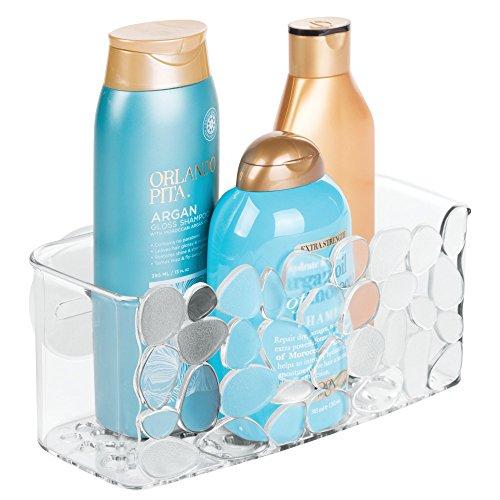 iDesign Duschablage mit Saugnapf, kleiner Duschkorb aus Kunststoff, hängende Seifenablage mit Ablauföffnungen, durchsichtig (Bad-dusche-organisation)