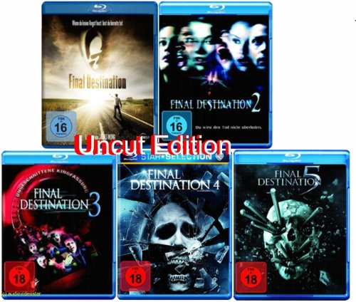 Final Destination 1+2+3+4+5 BLU RAY UNCUT FSK 18 Edtion Set