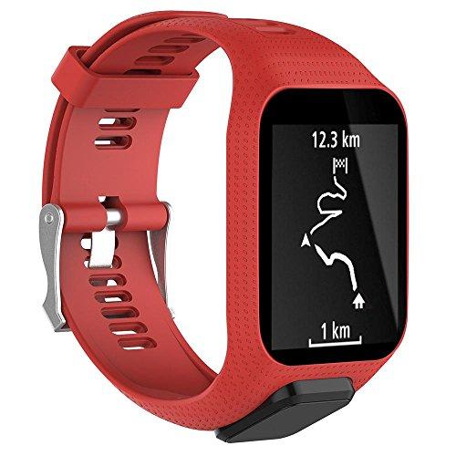 KOBWA TomTom Correa de reloj, correa de silicona de repuesto para TomTom Runner 2/Runner 3/Spark 3/Adventurer/Golfer 2 Deportes GPS Running Smartwatch, color rojo