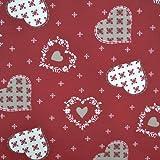 Tissu de coton imprimé | Tissu de Noël - rouge avec coeurs et flocons de neige (écru et taupe) | Largeur: 160cm (1 mètre)