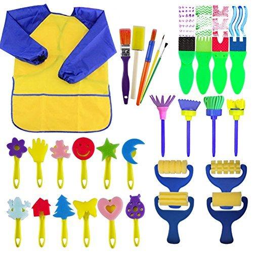 Evneed Paint spugne per bambini ,29pezzi pennelli di divertimento per i bambini. Coming con spugna, spazzola, motivo floreale, set di pennelli, manica lunga impermeabile grembiule con 3tasche