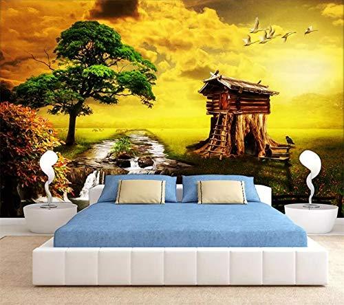 Lxsart Benutzerdefinierte Tapete 3D-Wandbild European Grassland Ranch Swan Chalet Landschaftsölgemälde 3D-Tapete-200cmx140cm -