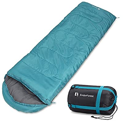 Endor Forest 3 Season, Single Envelope Travel Sleeping Bag for Outdoor Camping - Suitable for Kids and Adults - Lightweight, Compact and Water Resistant - High Quality for a Comfortable Warm Sleep from Endor Forest