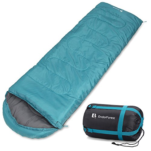 Endor Forest 3–4stagioni singolo, busta da viaggio sacco a pelo per campeggio–adatto per bambini e adulti–leggero, compatto e resistente all\' acqua–alta qualità per un sonno confortevole caldo, Forest Green