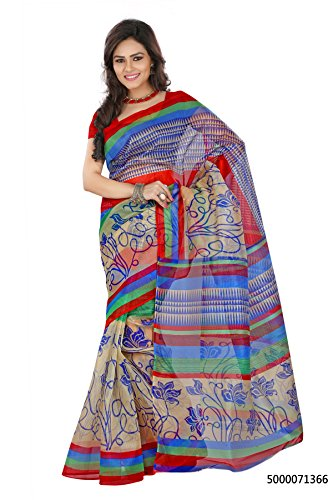 Lookslady Beige, Blue, Red color Super-Net Fabric Regular Use Floral Print women\'s saree with unstitched blouse