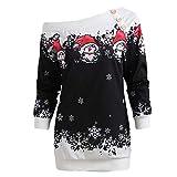 Kanpola Kleider Weihnachten Damen Pullover Print Off-Schulter Sweatshirt Langarmshirt Schulterfrei Drucken Lang Tunika Kleider (Schwarz, 42)