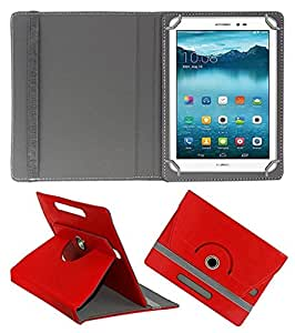 ECellStreet ™ PU Leather Rotating 360° Flip Case Cover With Tablet Stand For DOMO Slate X14 - Red
