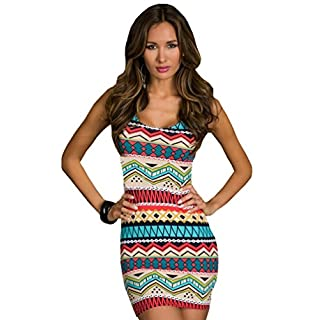 Aimerfeel Sexy Aztec Patterned Ladies Body-con Dress Size (8-10)