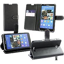 Emartbuy® Sony Xperia E4 / Xperia E4 Dual Premium Funda Wallet Soporte Carcasa Case Cover PU Cuero Negro con Tarjeta de Crédito Slots