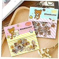 AYRSJCL 2Pack (80 Pcs/Pack) Cute Rilakkuma Mini Paper Stickerbag Diy Diary Planner Decoration Sticker Album Scrapbooking Kawaii Stationery