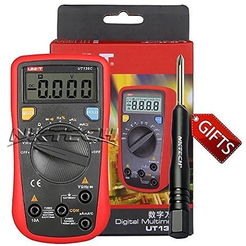 Nktech Uni-T Ut136C multimètre numérique Température de -40& # X2103; vers 1000& # X2103; AC DC Tension courant fréquence résistance d'arrêt automatique testeur Mètre kit sondes + Tl-1Tournevis