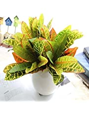 Fourwalls Beautiful Artificial Plastic Croton Plant Mini Bush (15 cm x 15 cm x 35 cm, Set of 3)