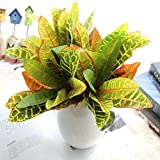 Fourwalls Beautiful Artificial Plastic Croton Plant Mini Bush (15 cm x 15 cm x 35 cm, Set of 3)