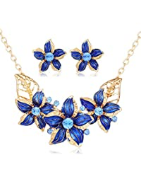 Hot And Bold Cz American Diamond, Gold Plated Flower Earrings & Necklace Combo/Set. Daily/Party Wear Fashion Statement...