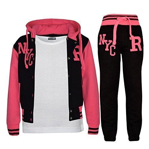 Kids Girls Boys Baseball Tracksuit - NYC Black & Neon Pink - 11-12 Years